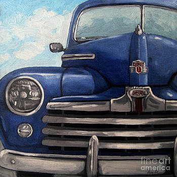 Vintage Blue Ford car painting by Linda Apple