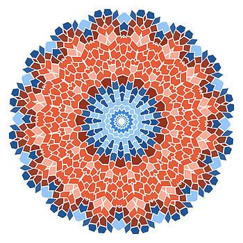Vintage blue with red mosaic petal flower by Larisa Karpova