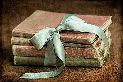 Vintage Books Tied With Mint Ribbon by Tracie Kaska