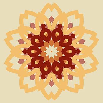 Vintage burgundy with orange mosaic petal flower by Larisa Karpova