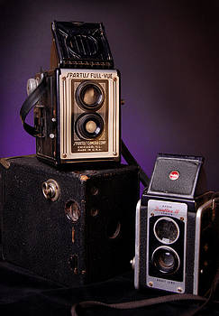 Vintage Cameras Stacked by Rebecca Brittain