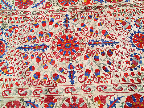 Vintage Central Asian Susani tapestry on hand-loom woven silk by Uzbek embroidery artist