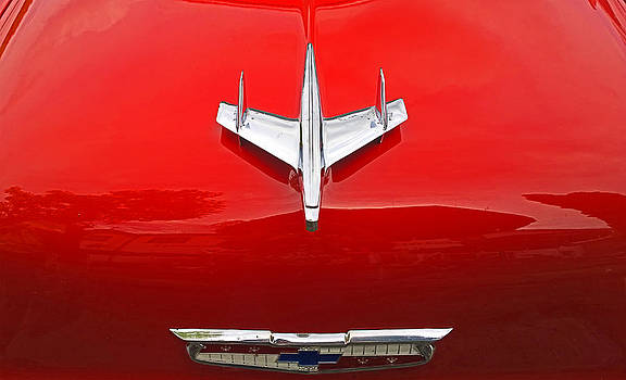 Vintage Chevrolet red engine hood with logo by Luisa Vallon Fumi