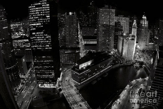 Vintage 2003  Downtown Chicago at night by Linda Matlow
