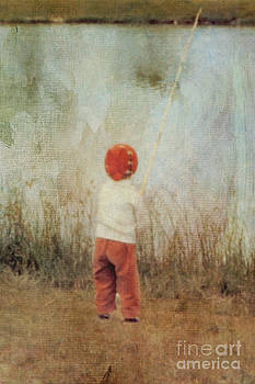 Vintage Little Girl With Bamboo Pole by Susan Gary