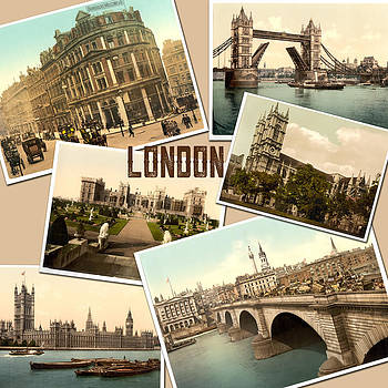 Peggy Collins - Vintage London England Photochrome Postcards Collage