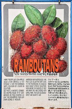 Ian Monk - Vintage Market Sign 3 - Papeete - Tahiti - Ramboutans - Lychee