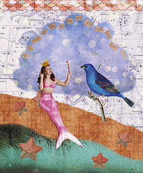 Vintage Mermaid Bird Collage by Cat Whipple