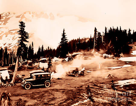 Vintage Mount Rainier cars and camp grounds Early 1900 era... by Eddie Eastwood