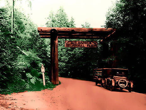 Vintage Mt.Rainier National Park Entrance early 1900 era... by Eddie Eastwood
