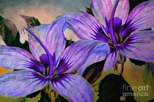 Vintage Painted Lavender Lily by Judy Palkimas