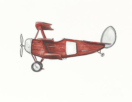 Vintage Red and Gray Airplane by Annie Laurie