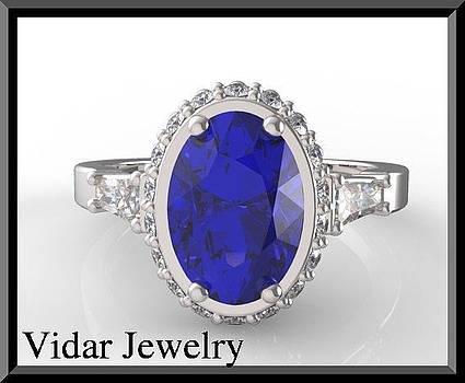 Vintage Sapphire And Diamond 14k White Gold Engagement Ring by Roi Avidar