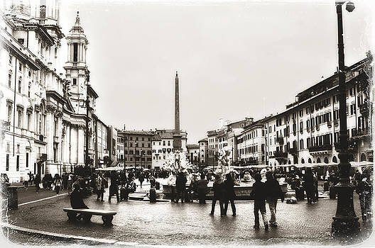 Vintage Style Piazza Navona in Sepia by Angela Bonilla