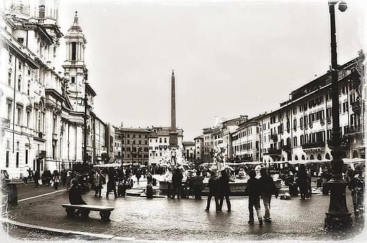 Angela Bonilla - Vintage Style Piazza Navona in Sepia
