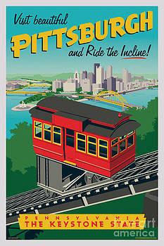 Vintage Style Pittsburgh Incline Travel Poster by Jim Zahniser