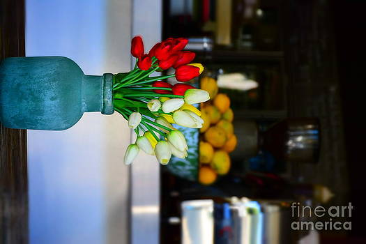 Vintage Vase And Rose by Bobby Mandal