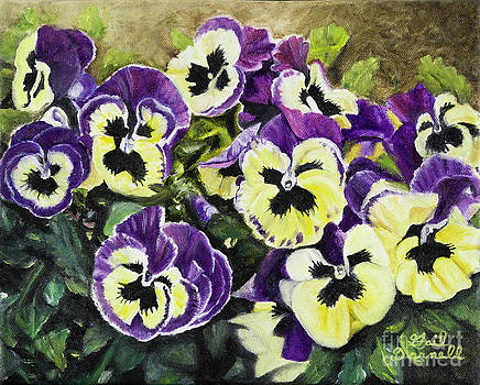 Violet and Yellow Pansies by Gail Darnell