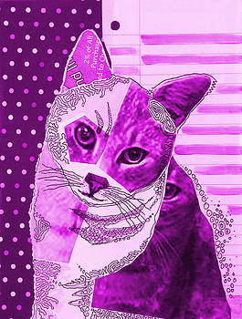 Amy Giacomelli - Violet Moxie ... Abstract cat art