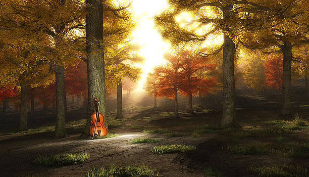 Violin in autumnal park by Bruce Rolff