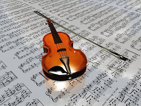 Violin on sheet music backdrop with clouds reflecting by Bruce Rolff
