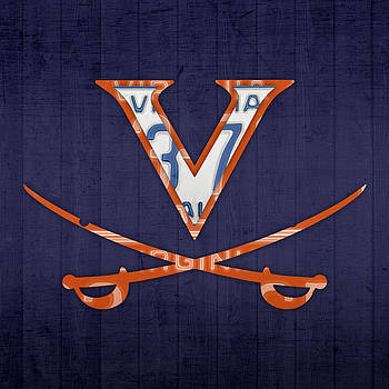 Design Turnpike - Virginia Cavaliers College Sports Team Retro Vintage Recycled License Plate Art