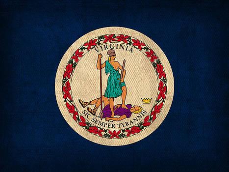 Design Turnpike - Virginia State Flag Art on Worn Canvas