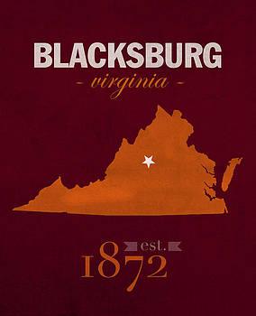 Design Turnpike - Virginia Tech University Hokies Blacksburg College Town State Map Poster Series No 120