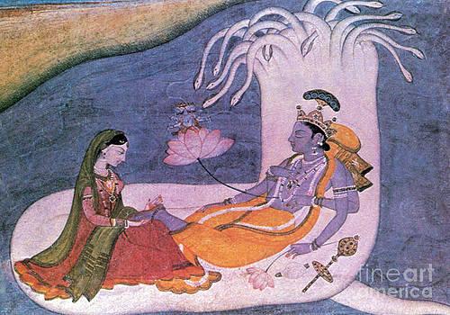 Photo Researchers - Vishnu And Lakshmi Float Across Cosmos