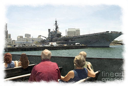Visiting The Uss Midway Museum Cv 41 Aircraft Carrier - Watercolor by Claudia Ellis