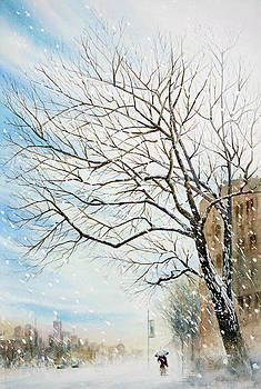 Outside Royal Ontario Museum in Winter by Perry Chow