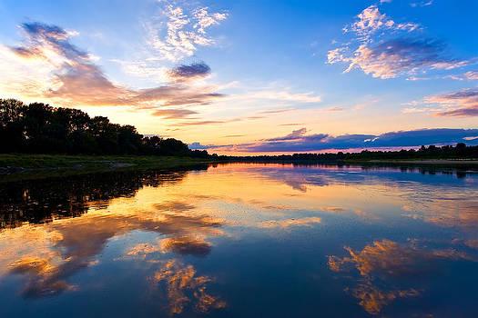 Vistula River Sunset by Tomasz Dziubinski