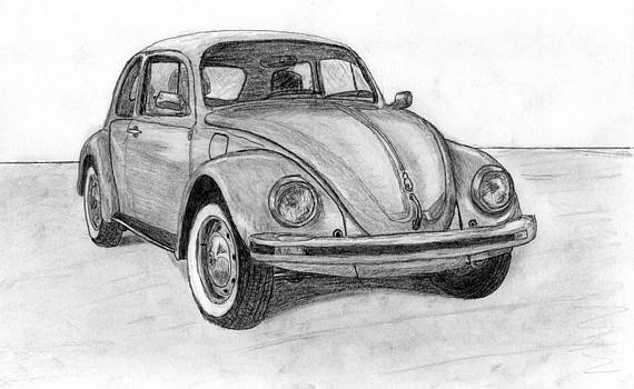 Volkswagen beetle car. by Kokas Art