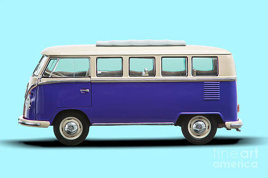 Volkswagen T1 Bus Bully Camper in purple on azul background by Daniel Osterkamp