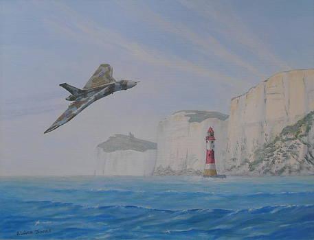 Vulcan XH558 Passing Beachy Head by Elaine Jones