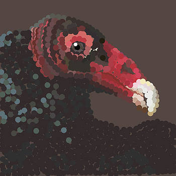 Vulture Pixel Pointillized by R  Allen Swezey