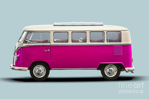 VW T1 Bus Bully Camper in pink on grey by Daniel Osterkamp