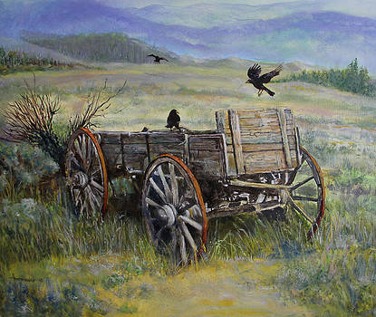 Wagon and Crows by Ann Arensmeyer