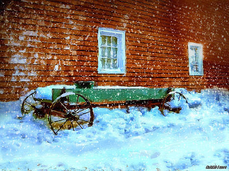 Wagon Cart in the Snow by Ken Morris