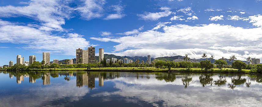 Waikiki and Ala wai golf course on the background panorama by Jianghui Zhang