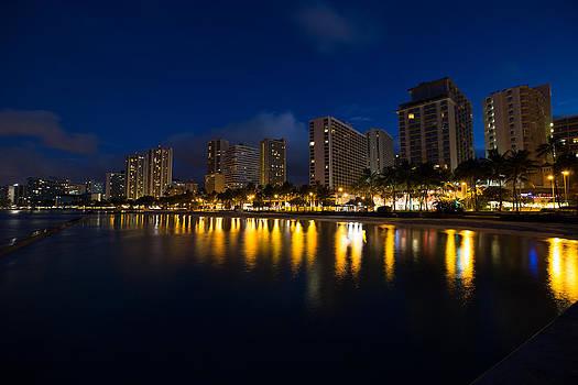 Waikiki Beach Reflections by Sam Amato