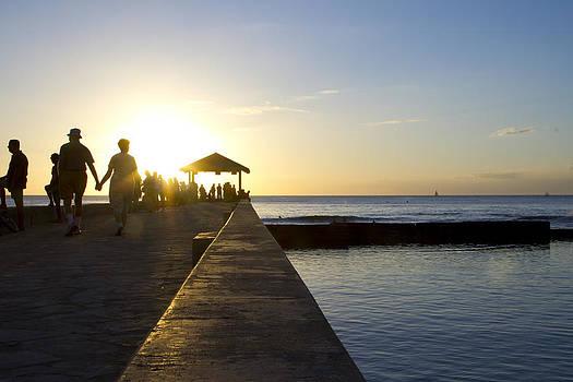 Waikiki Sunset Silhouette by Ashlee Meyer