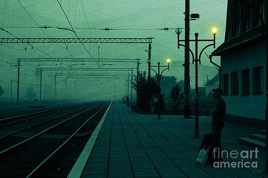 Waiting for a train by Joanna Cieslinska