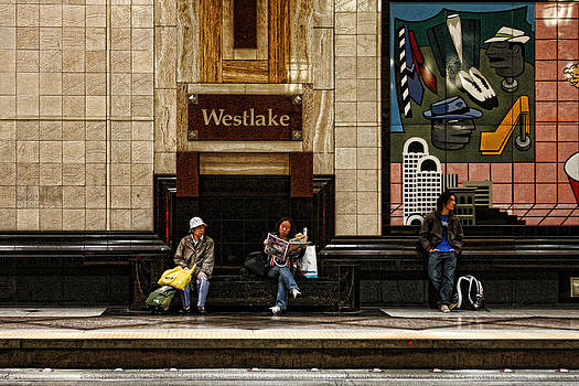 Waiting For The Bus - Westlake Station by Steve Raley