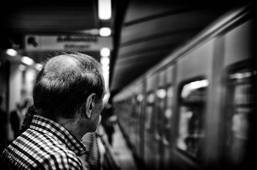 Waiting for the train by Spyros Papaspyropoulos