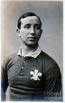 Wales International Rugby Union Half Back Dick Jones in International Jersey by Unknown