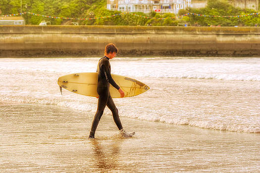 Mark Tisdale - Walking Into The Sea - Surfer at Newquay