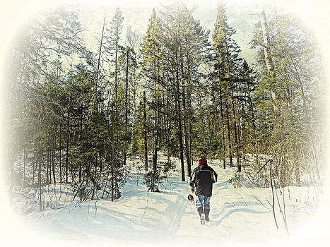 Walking The Dog On a Snowy Trail by Dianne  Lacourciere