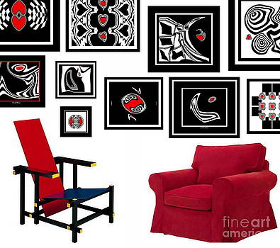 Wall Decoration Black White Red Art No.2.  by Drinka Mercep