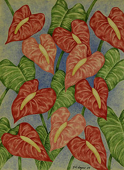 Wall of Anthuriums by DK Nagano